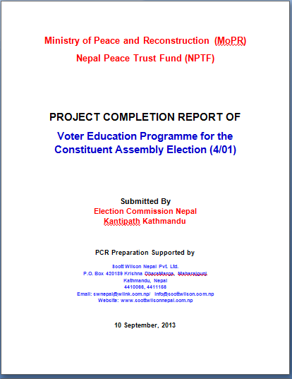Preparation of Project Completion Report for Nepal Peace Trust Fund (NPTF) Projects