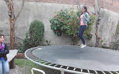 Trampoline at Office Garden