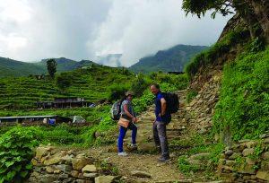 Our team members enjoying trekking of foot trail in rasuwa unnat goreto project
