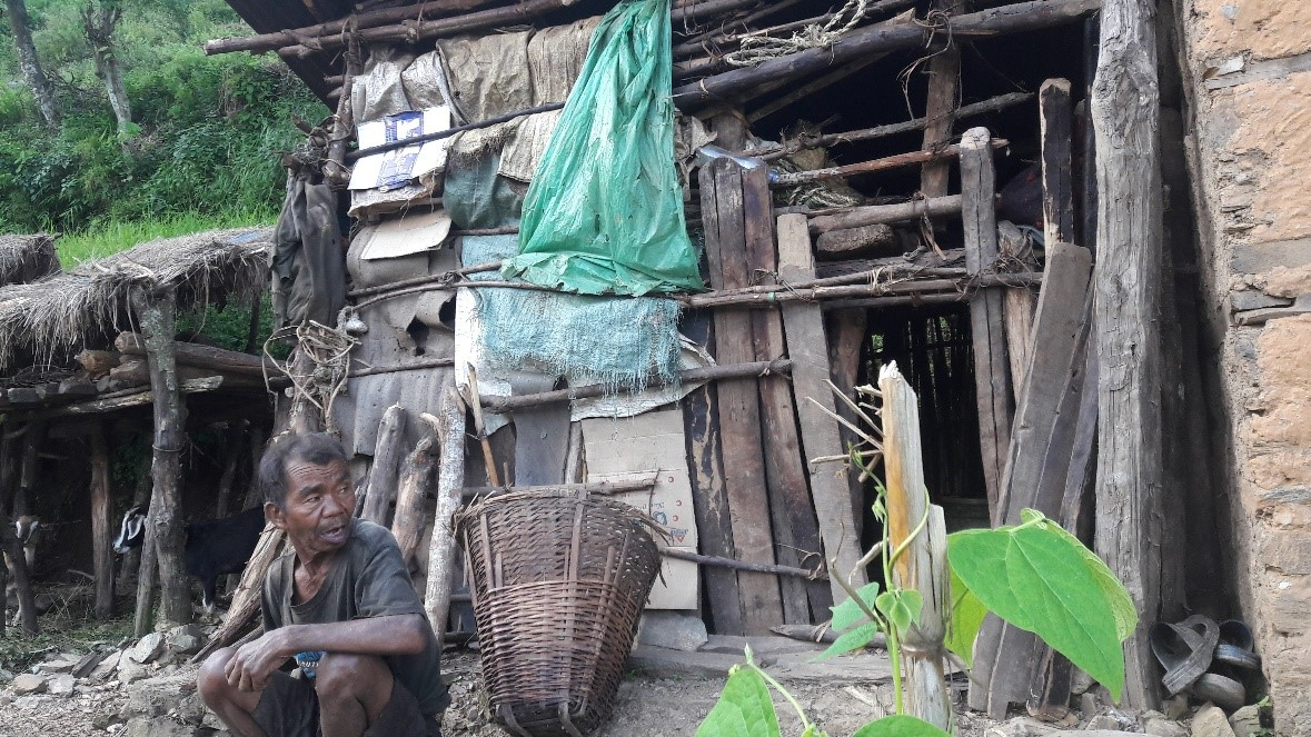 Bhakta Bahadur built a temporary shed after earthquake and lived for a year