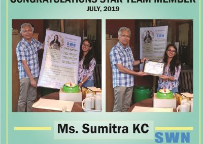 Star Team Member of the month July 2019, Ms. Sumitra KC