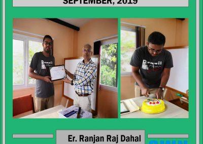 Star Team Member of the month September, 2019 - Er. Ranjan Raj Dahal !