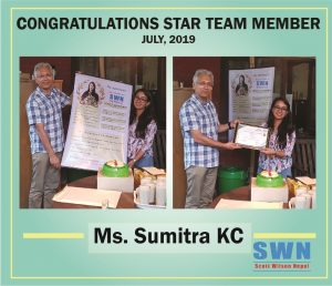 Star team member July 2019 Sumitra KC