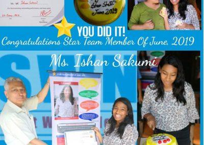 Star team member, June-2019 -Ishan Sakumi